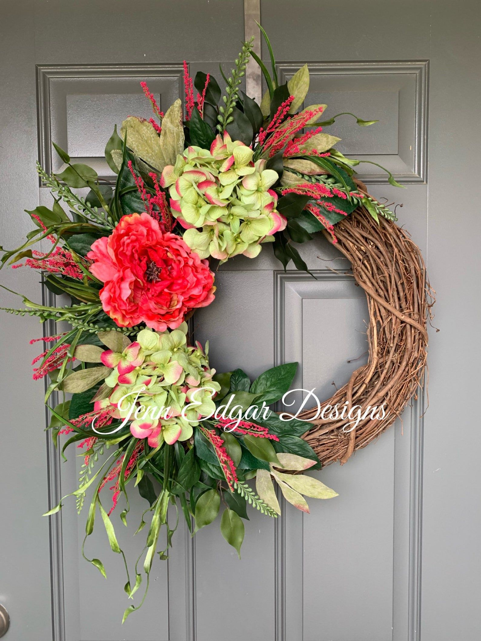 Photo of Summer wreaths for the front door, summer wreath, hydrangea wreath, hydrangea wreath for the front door, summer door wreath, spring wreaths