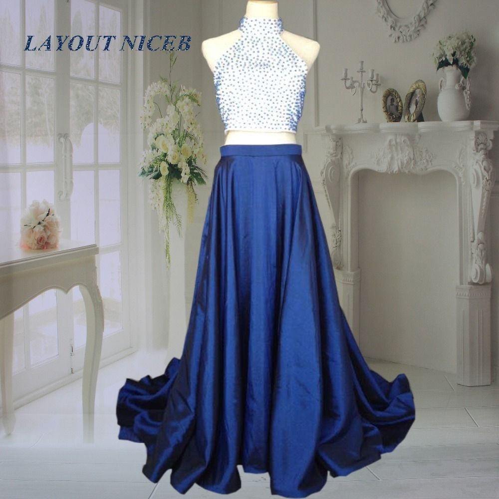 Sexy royal blue pearls two piece prom dresses high neck aline