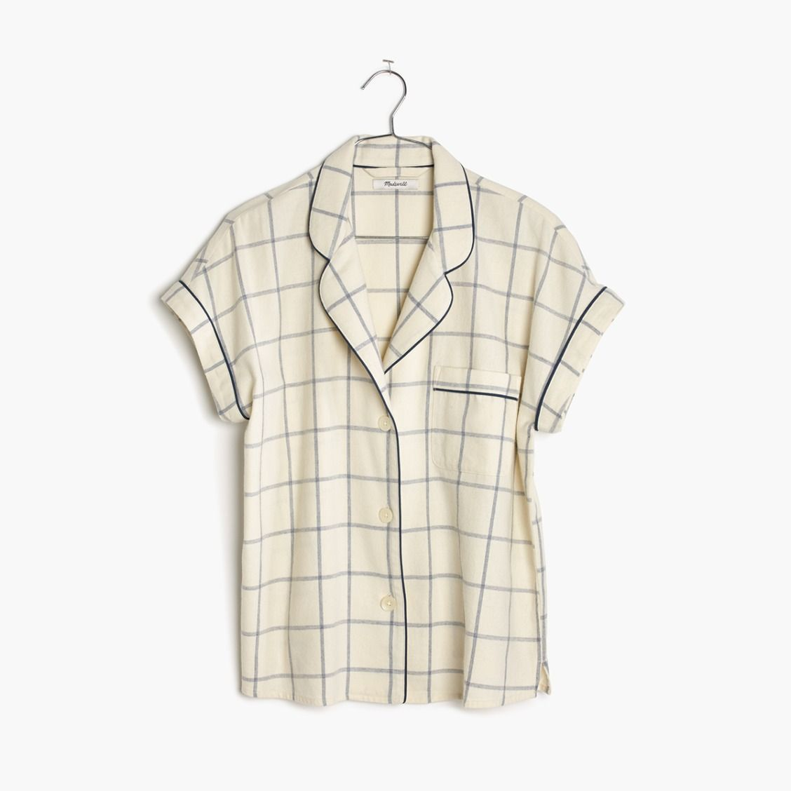 madewell flannel bedtime pajama top.