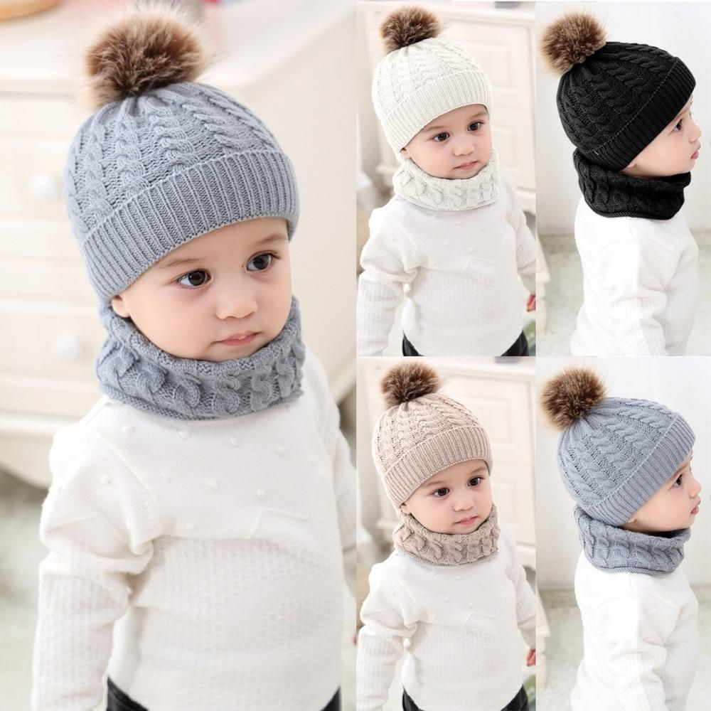 Toddler Kids Baby Girl/&Boy Pom Hat Winter Warm Crochet Knit Beanie Cap Scarf Set