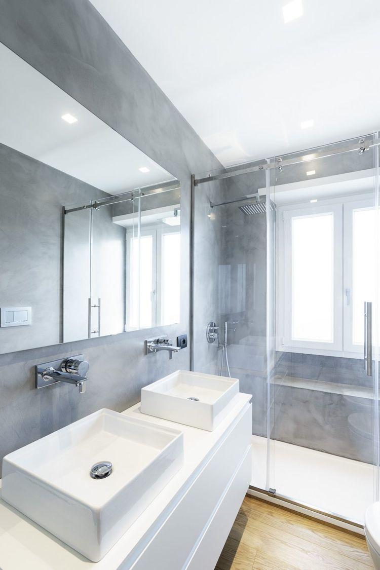 Badezimmer Beton Modern Glaswand Dusche