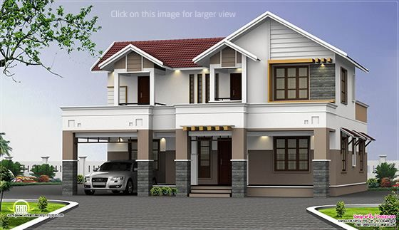 2500 Sq Feet Two Storey House Elevation Kerala House Design Modern House Plans Bungalow House Design