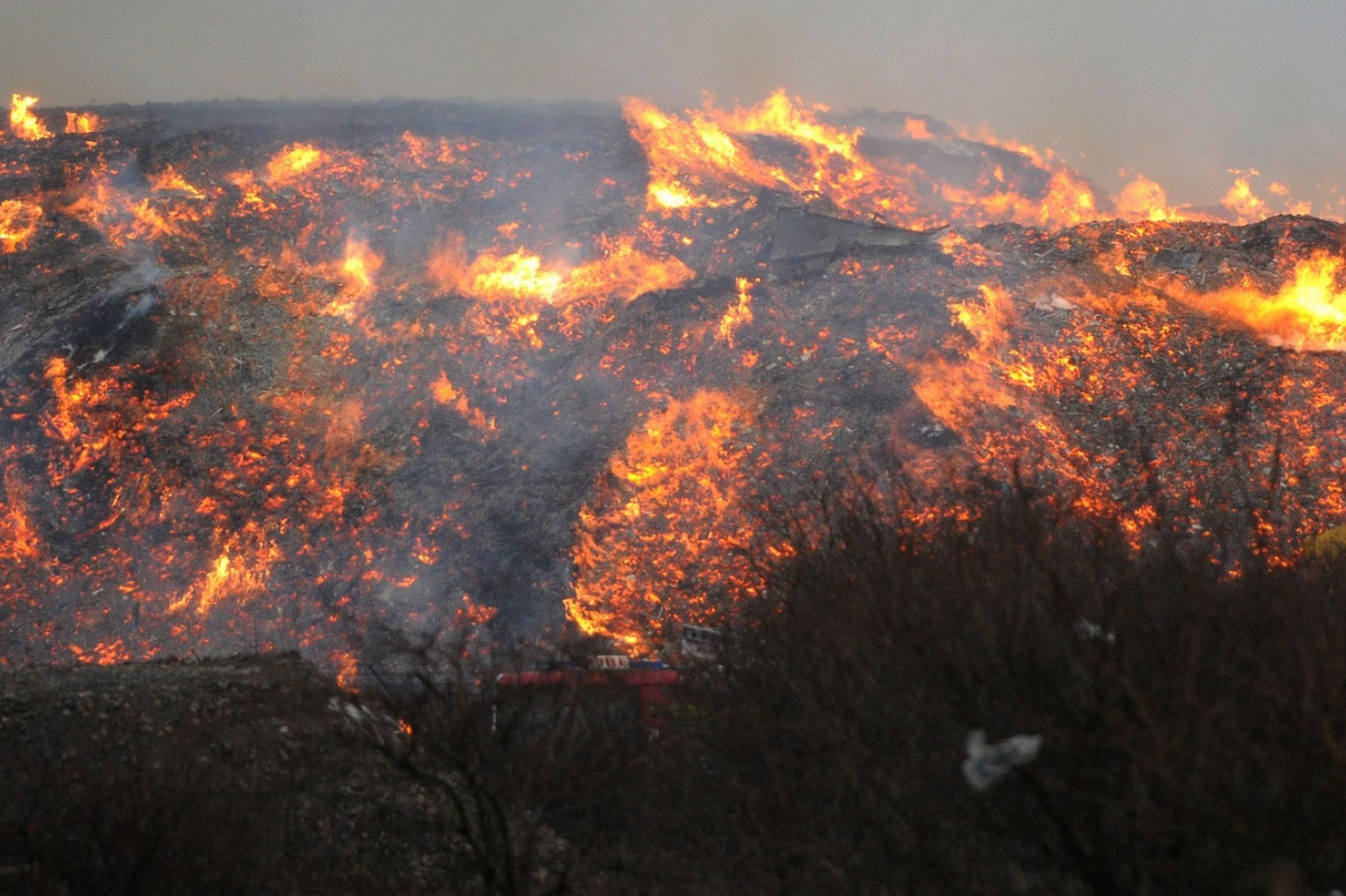 Fire from recycling plant