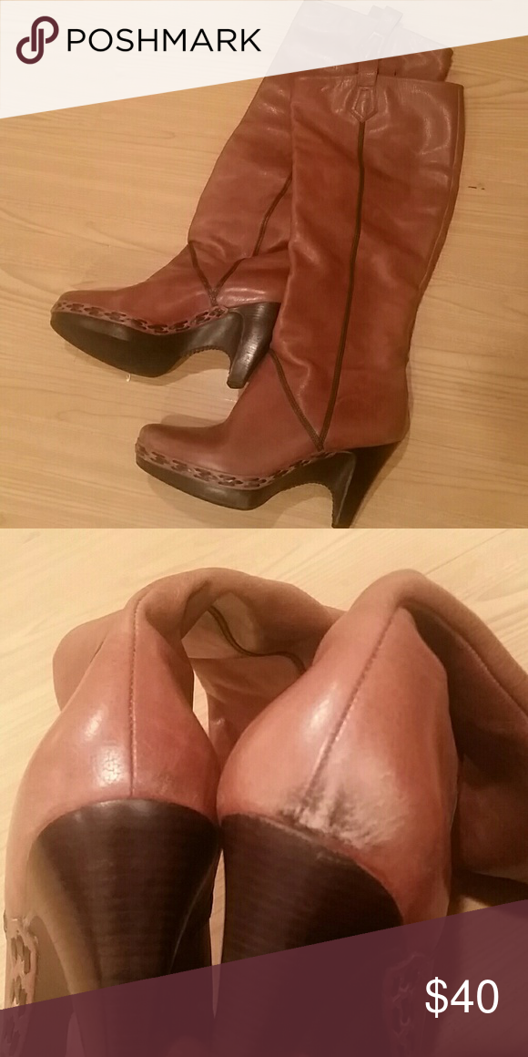 Cole Haan - leather boots Cole Haan brown leather boots. Calf high with a 3 in heel. These are like butter! Gently worn but in great shape all around. Right heel has a slight scuff, as shown in picture, but nothing a good buff job won't fix. Cole Haan Shoes Heeled Boots