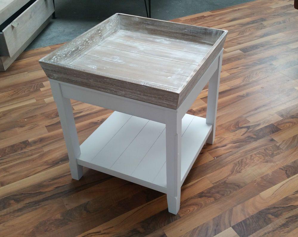 Wohnzimmertisch Landhaus ~ Tisch couchtisch beistelltisch shabby weiß braun landhaus couch