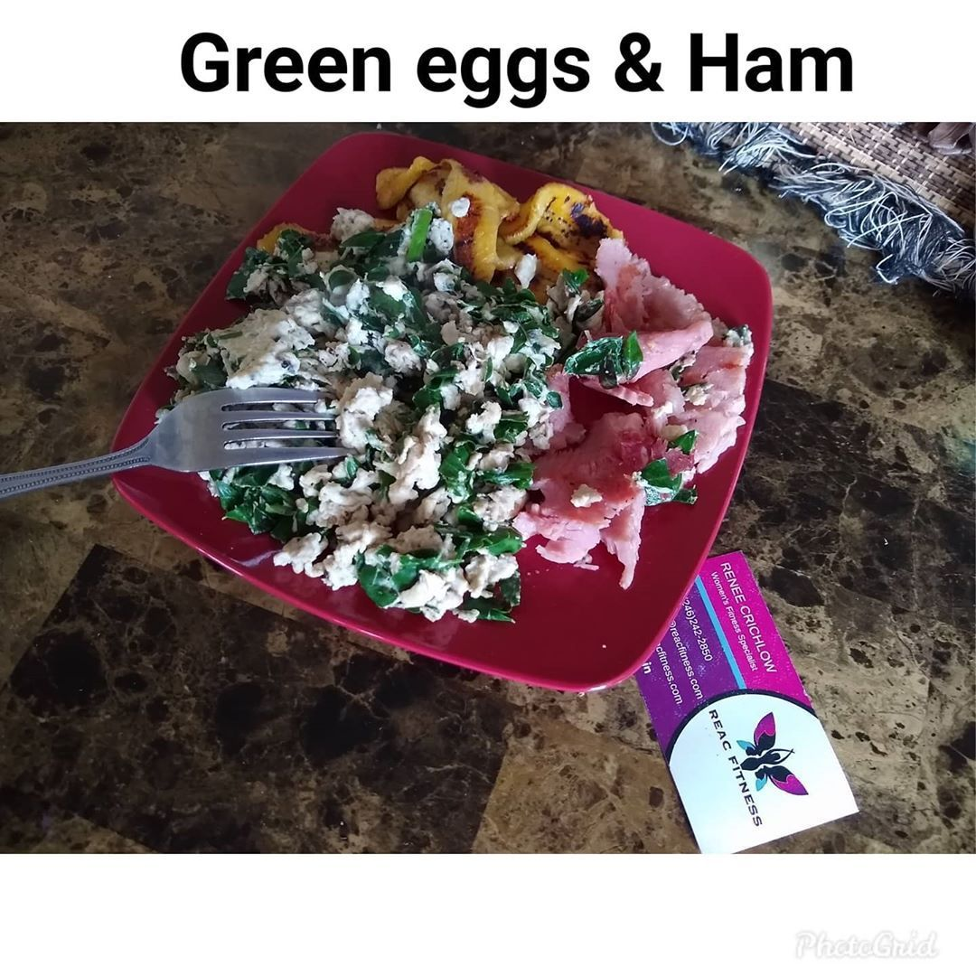 No I am not Dr. Seuss but I had green eggs and ham for breakfast and of course Plantain is Life.  Green in the eggs isn't spinach (ewwww), nor Chinese cabbage but... Moringa leaves. Yes, moringa is actually a food crop in many countries and has many uses beyond tea.  If you live in Barbados, there are NUFF trees around.  Use Caribbean foods readily available to you.  That's what I will be teaching in the upcoming FITher Revolution program which starts 15th January. Go to link in bio for more det #greeneggsandhamrecipe
