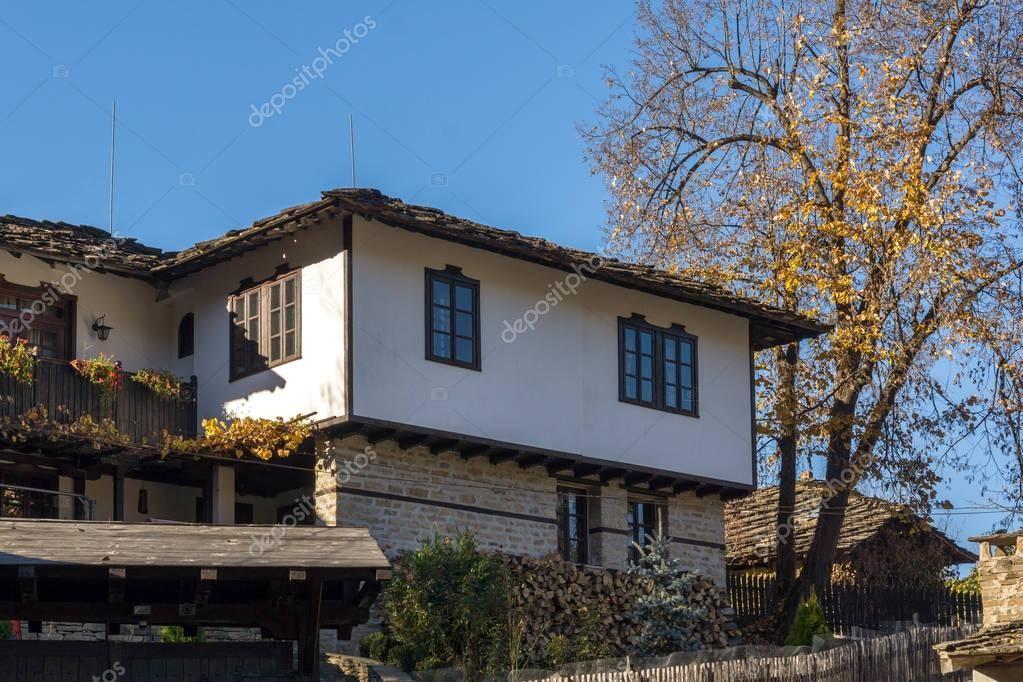 Панорама с осени дерево и старый дом в селе Боженци ...