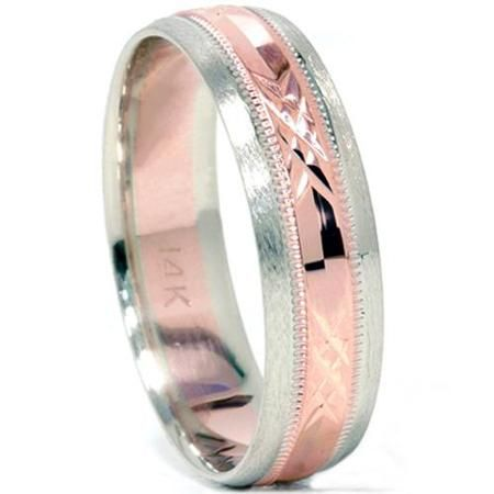 Buy Mens 14K Rose White Gold 6MM Diamond Cut Wedding Ring Unique Fancy Band 6