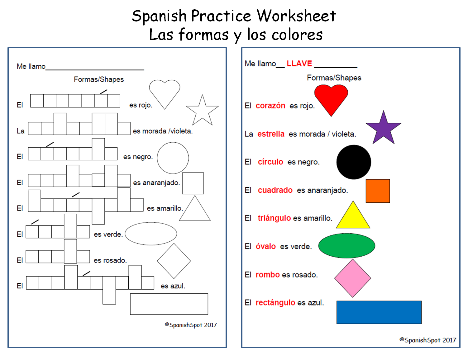 Bilingual Worksheets English And Spanish