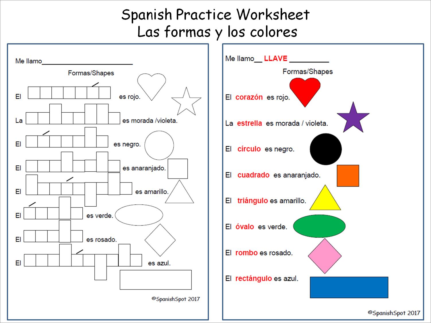 worksheet Worksheets In Spanish spanish shapes and colors worksheet worksheets worksheet