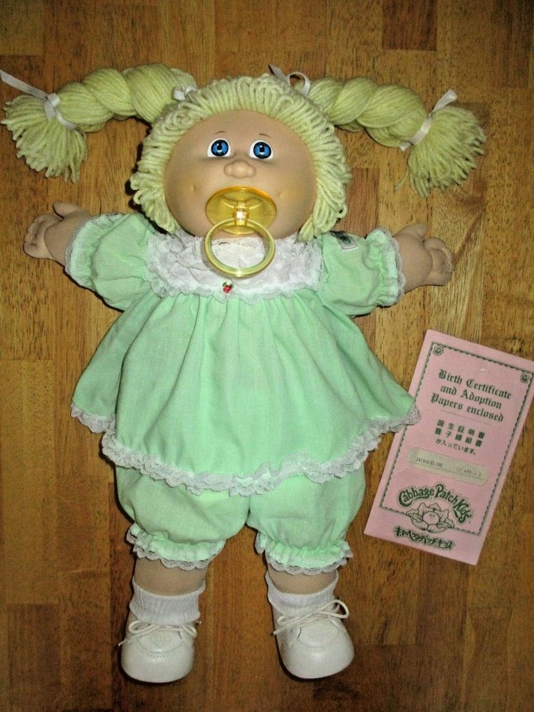 1985 Cabbage Patch Kids Tsukuda Pacifier Girl Doll Jackqueline Made In Japan Pacifier Girl Cabbage Patch Kids Cabbage Patch Kids Dolls