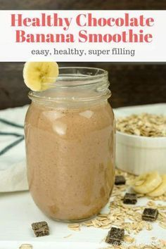 This healthy Chocolate Banana Smoothie lets you start the day with a chocolate shake! This hearty smoothie will keep you full all morning has no added sugar and packs in 10 grams of protein. | Slender Kitchen | Weight Watchers | Breakfast | Snack | Gluten Free | Vegan | Vegetarian | Smoothie | #slenderkitchen #weightwatchers #healthyrecipes #vegan #vegetarian #glutenfree #breakfast #snack #chocolatebananasmoothie This healthy Chocolate Banana Smoothie lets you start the day with a chocolate shak #healthychocolateshakes