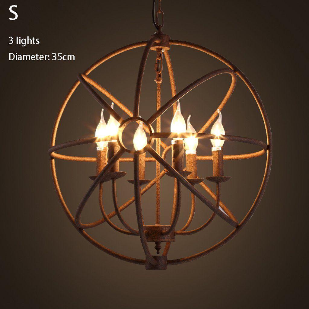 Loft Nordic American Retro Circular Wrought Iron Candle Chandelier Lamp Cage Bar Restaurant Lights Co Uk Lighting