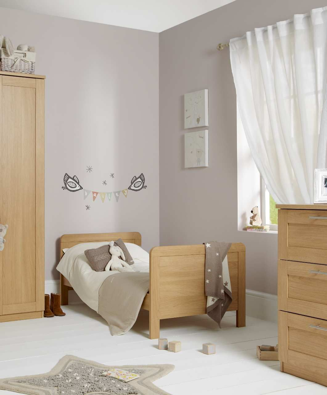 Maple Gray Nursery Oak Bedroom Furniture