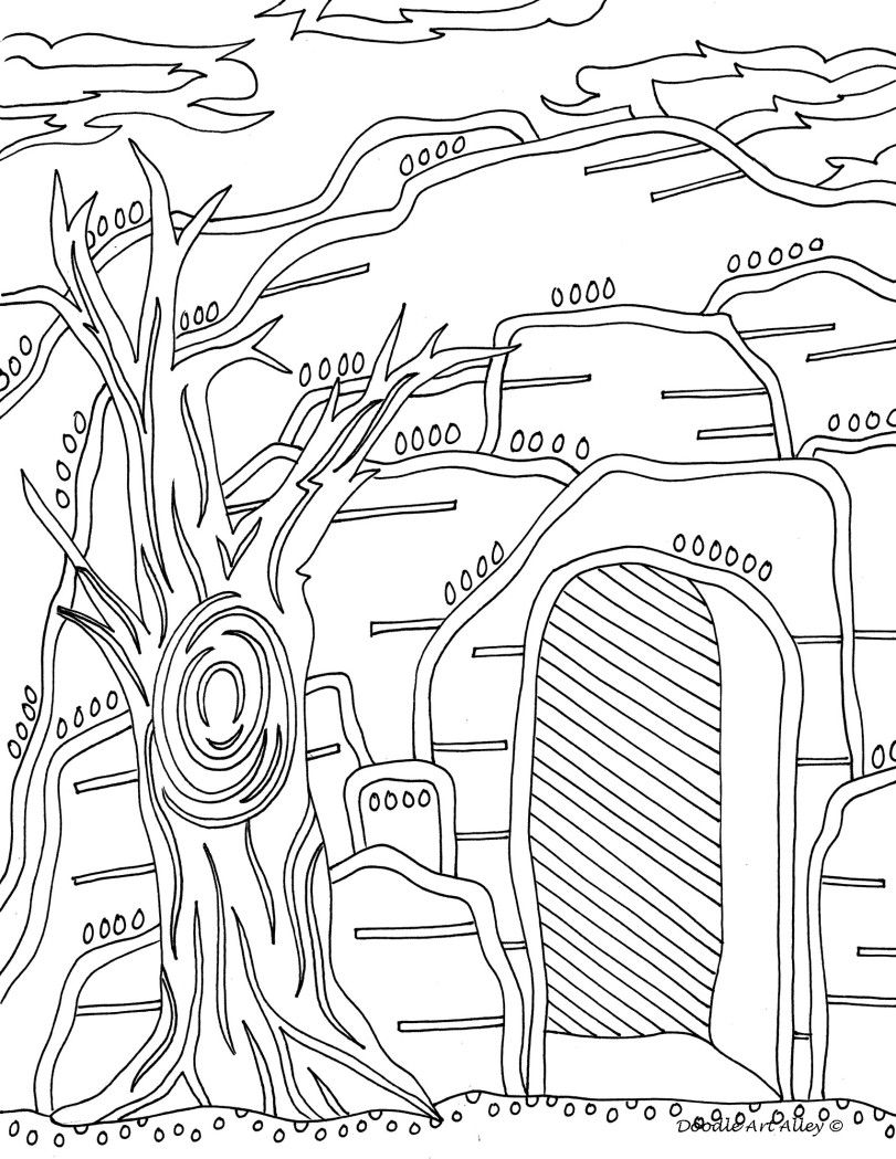 Easter Empty Tomb Doodle Coloring Page