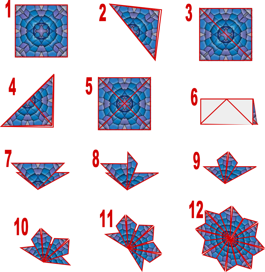 Teabag folding   Susan Bluerobot: Tea Bag folding card Blue (plus make the Cut Pattern)