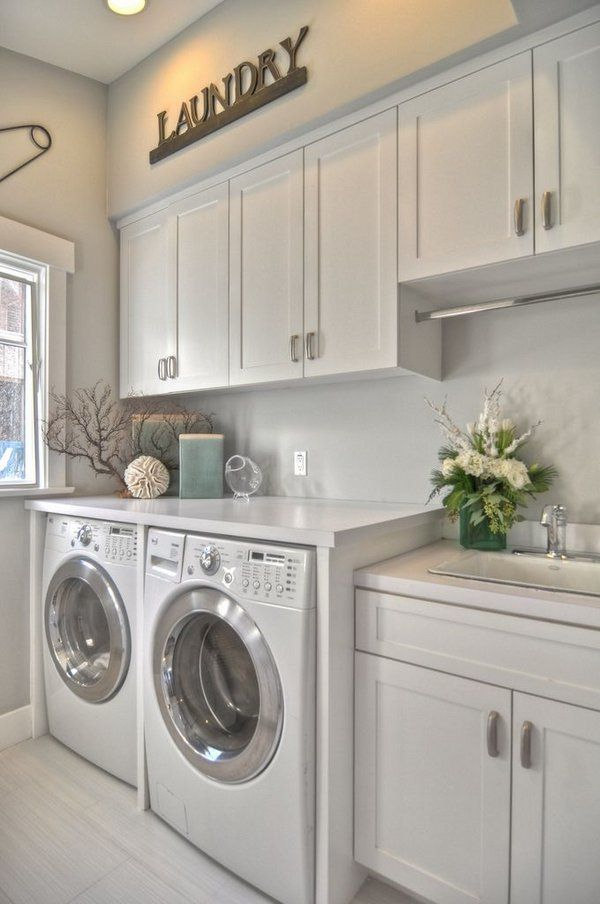 Modern Laundry Room Cabinets White Cabinets White Countertops Tile