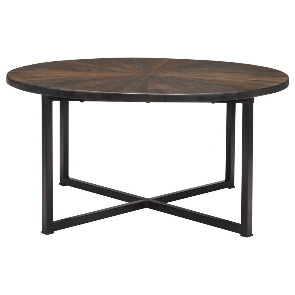 Atelier World Traveler Round Wood Top Coffee Table With Metal Legs Coffee