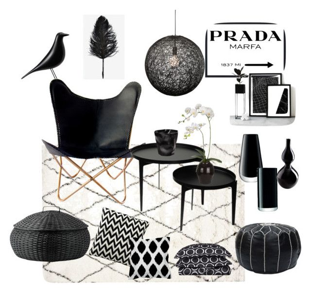 Monochrome Collection for home by decopixbytiina on Polyvore featuring interior, interiors, interior design, home, home decor, interior decorating, nuLOOM, Nuevo, DAY Birger et Mikkelsen and Prada