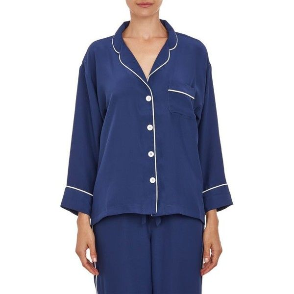 Sleepy Jones Silk Pajama Shirt ($69) ❤ liked on Polyvore featuring intimates, sleepwear, pajamas, blue, silk pajamas, blue pajamas, blue silk pajamas, silk sleepwear and silk pyjamas