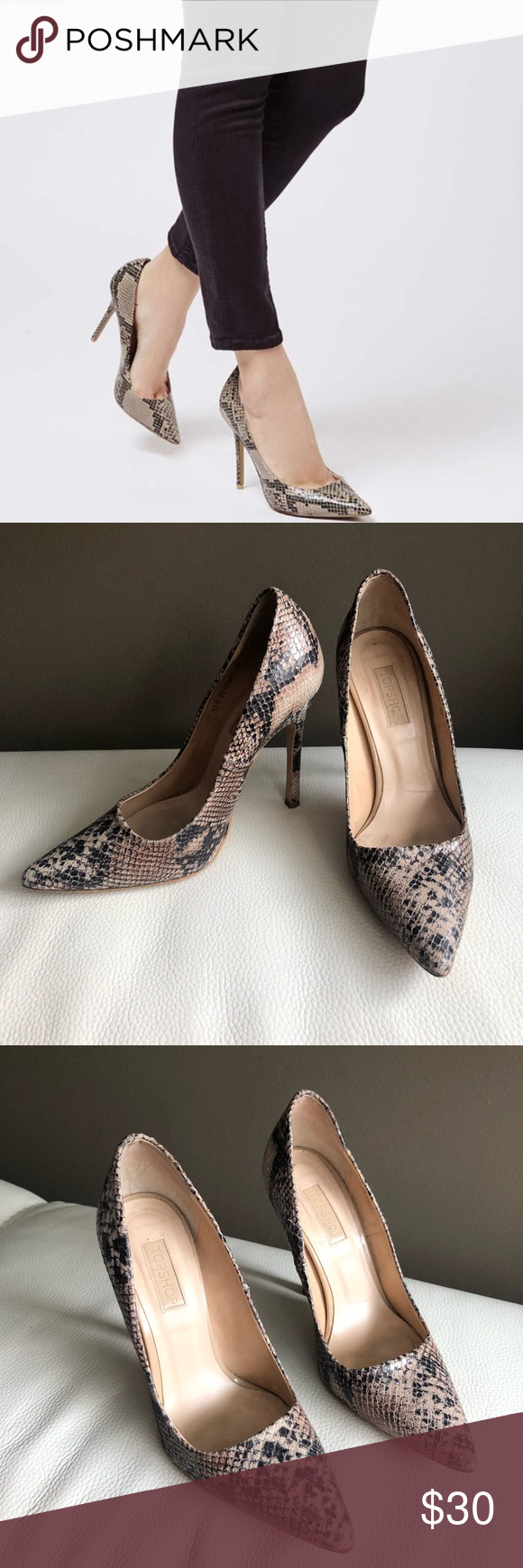 """ab957db12653 ✨Topshop • Pointed Toe Snakeskin Heels   Stiletto✨ H.O.T. stiletto Topshop  snake skin heels. Worn max 2-3 times Heels  4.5"""" European size 37 - US size  7 A ..."""