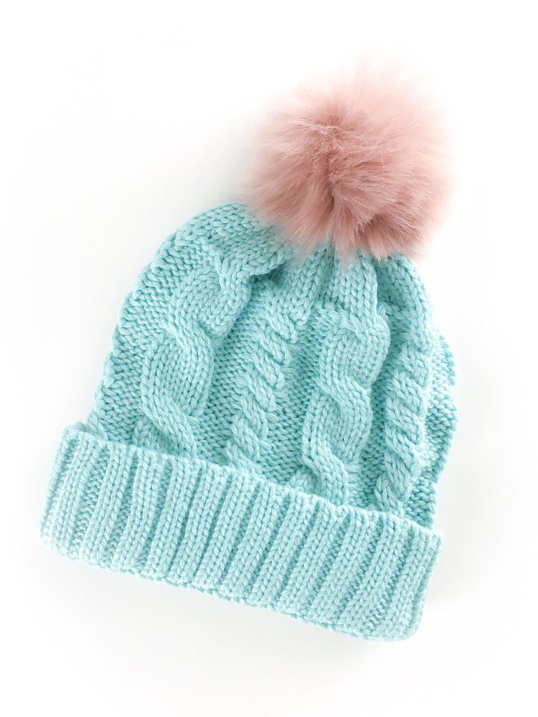3b0e4352098 Cable Knit Beanie with contrasting Pom Pom. Turquoise blue with a pink Pom.  therollinj.com
