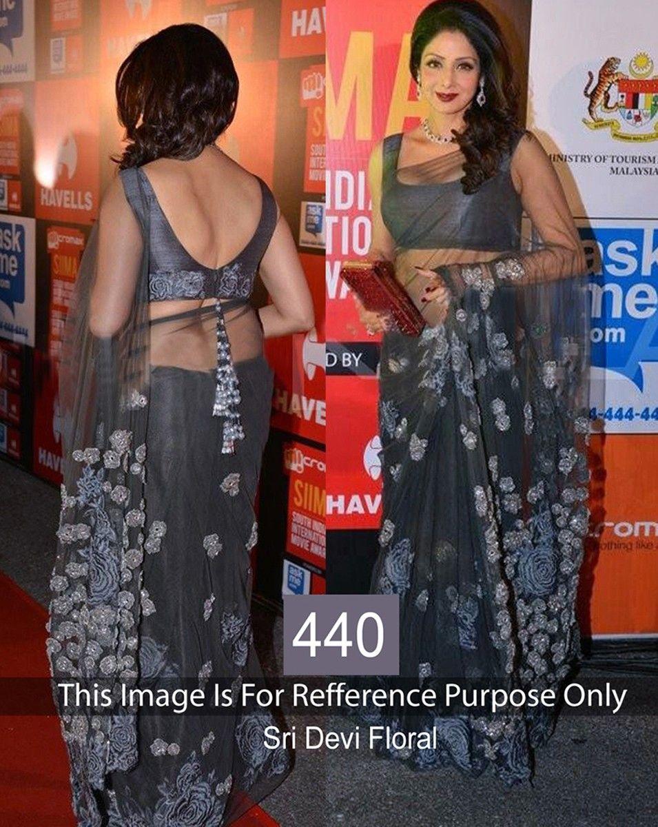 e270244ec Sridevi Net Machine Work Grey Bollywood Designer Saree - 440BS