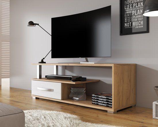 Tv Kast Wit Eiken.Meubella Tv Meubel Axel Wit Eiken 118 Cm Flat Screen Tvs