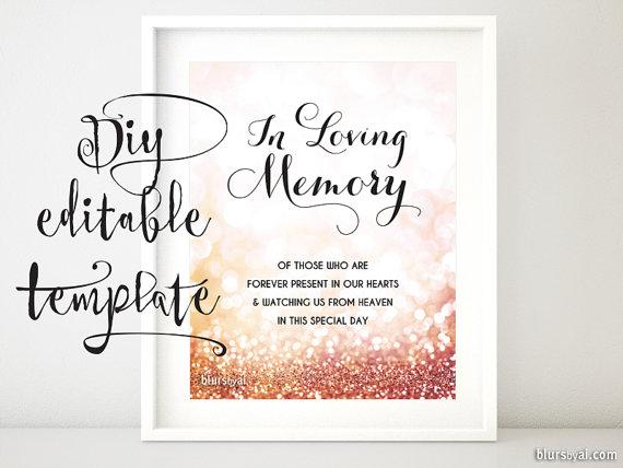 Printable memorial sign TEMPLATE, diy wedding memorial sign