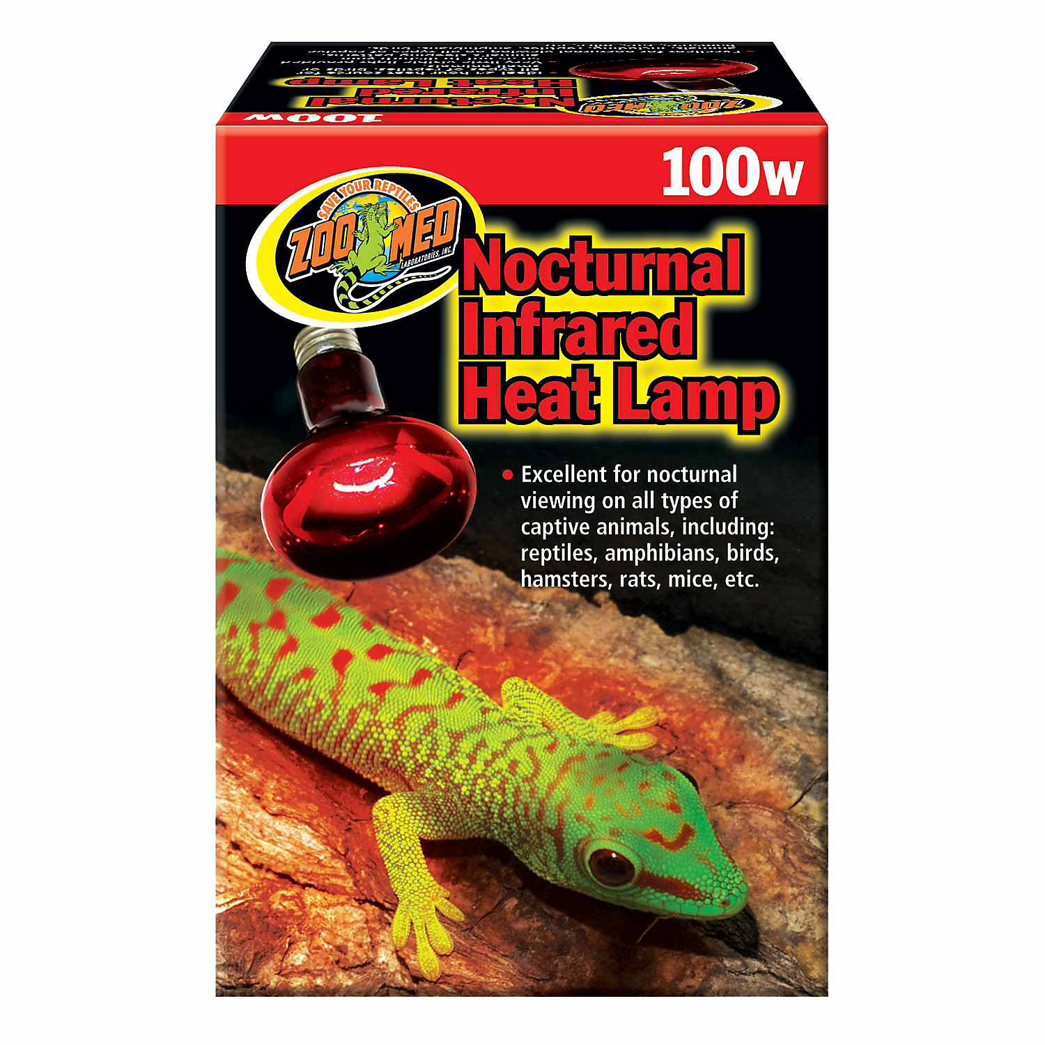 Zoo Med Nocturnal Infrared Heat Lamp Reptile Heat Lamp Bulb Clamp Lamp