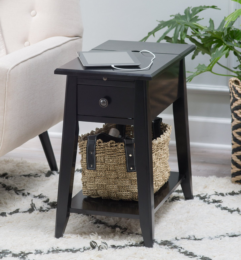 black end table with usb ports and