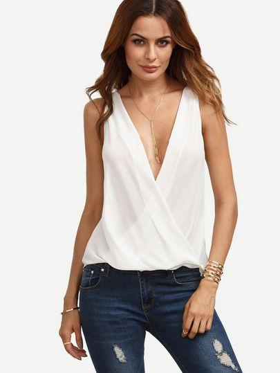 Blanca blusa de cuello en V Sobrepelliz