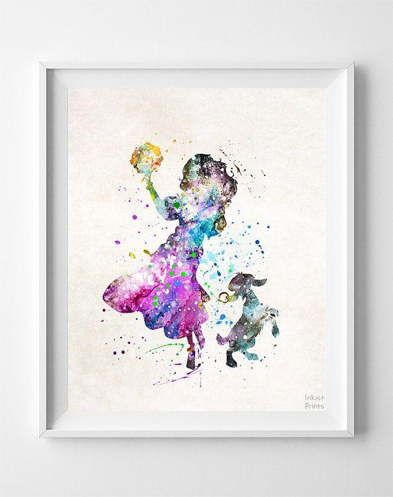 ariel little mermaid print Watercolor a4 picture nursery gift disney UNFRAMED