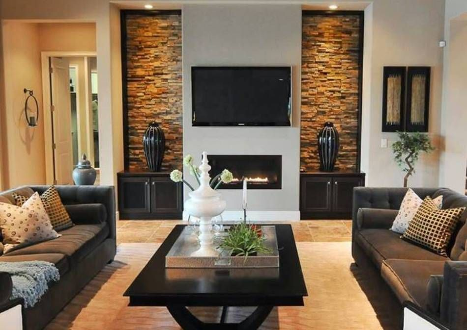 Living Room With Wall Mounted Fireplace Electric And Lcd Tv Jpg 950 673 Contemporary Living Room Design Elegant Living Room Design Livingroom Layout