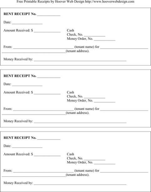 Rent Receipt Template  TemplatesForms    Receipt