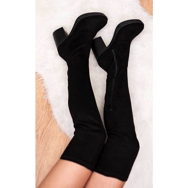 3913b5b056 SpyLoveBuy Norfolk Platform Block Heel Over Knee Tall Boots - Black...  ($64) ❤ liked on Polyvore featuring shoes, boots, black, over the knee high  heel ...