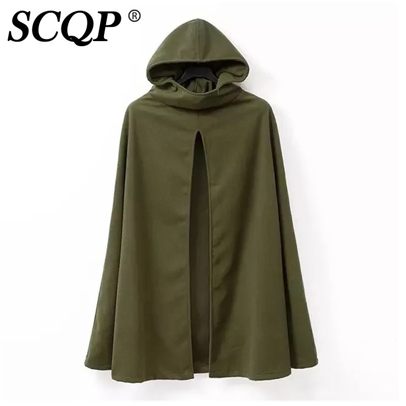Click To Buy Fashion Hoodie Pullover Cloak Winter Coat Wool Ladies Army Green Loose Women Long Coats Winter Cape Coat Hooded Trench Coat Army Green Coat