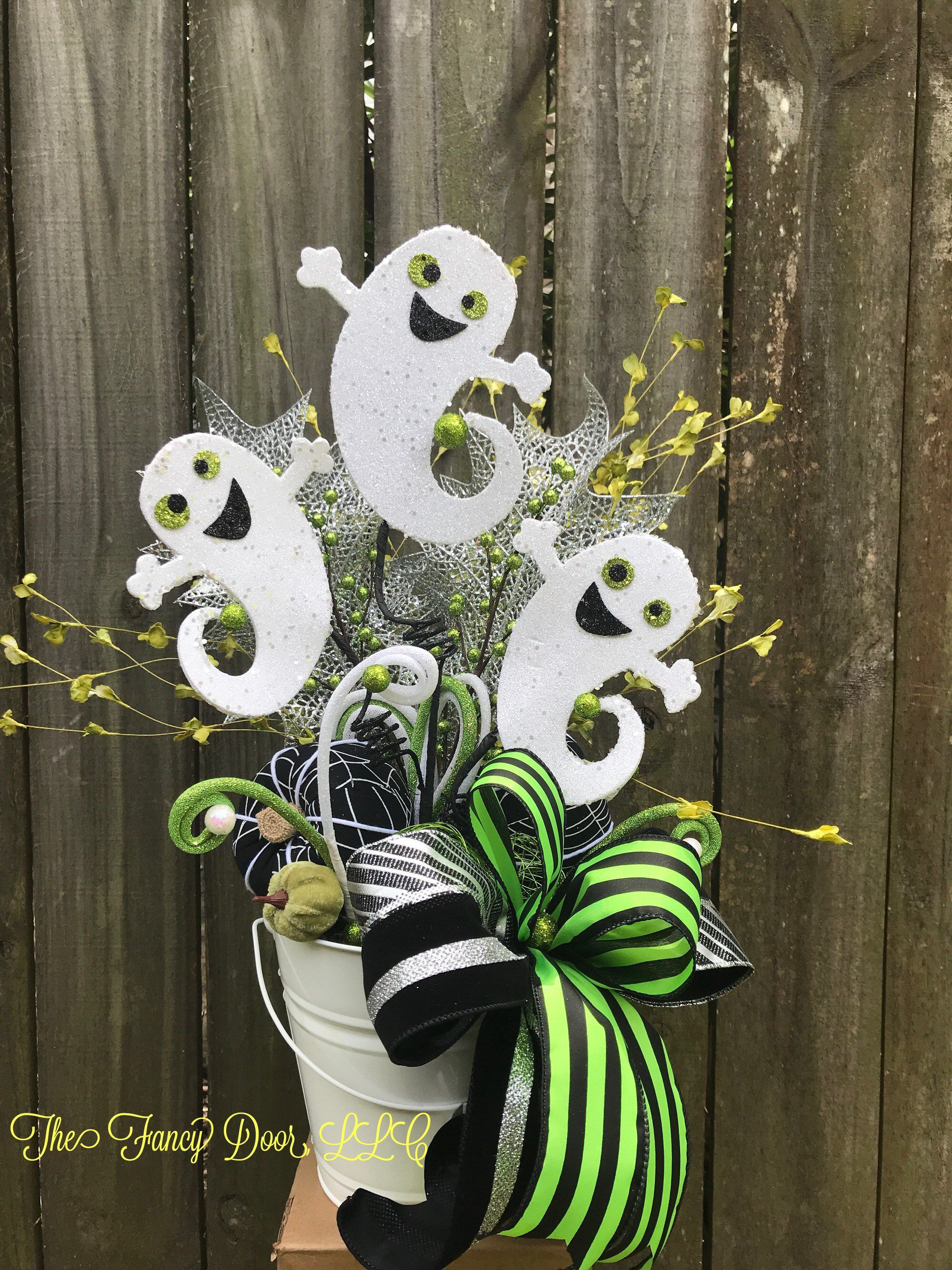 ghost decor, halloween decorations, ghost centerpiece, ghost