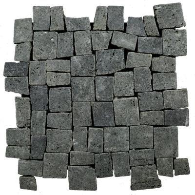 Cruz Bay Block Tile Black 113/4 in. x 113/4 in. x 9.5 mm