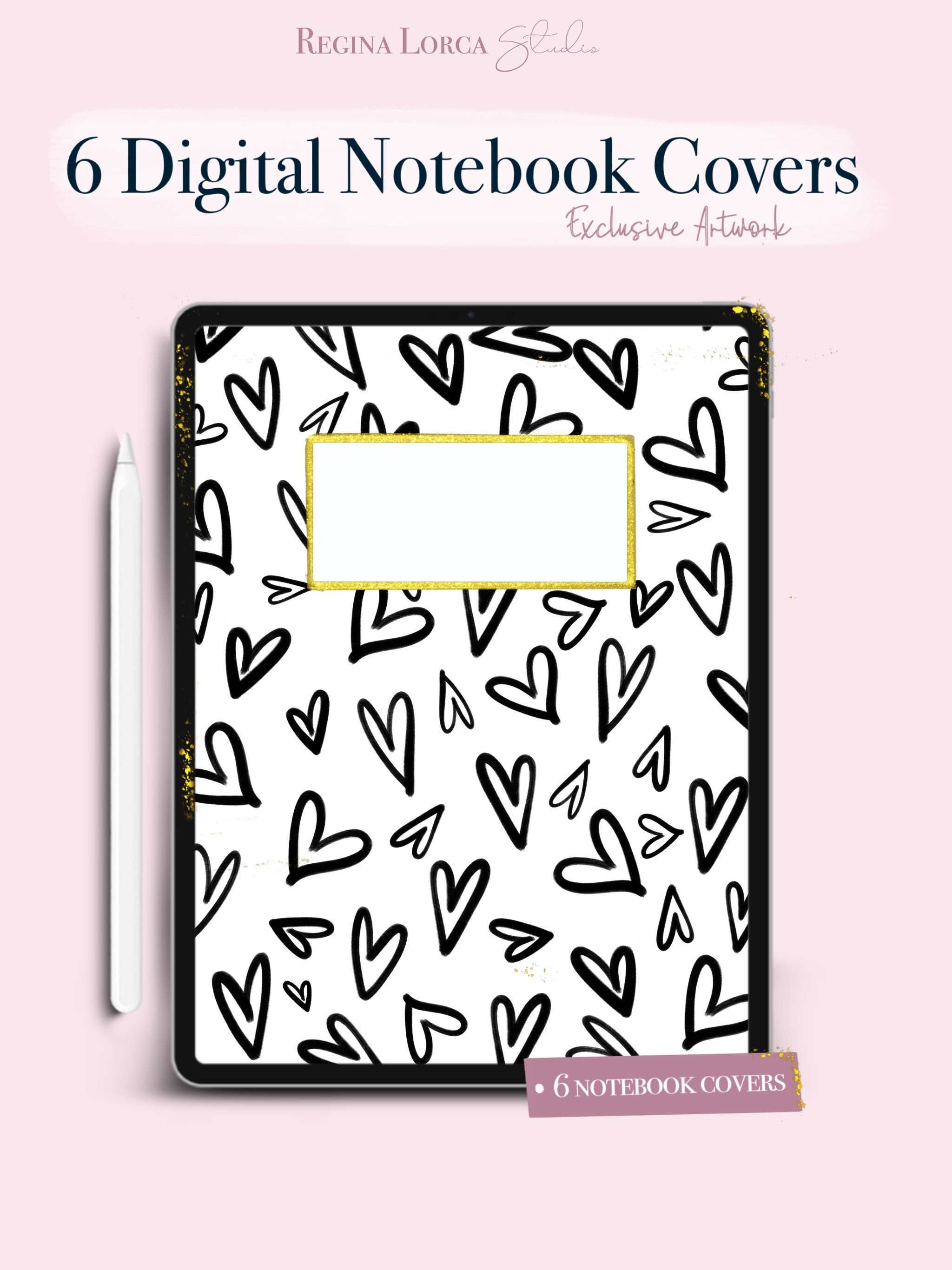 Black and White Notebook Covers, 6 cute digital notebook