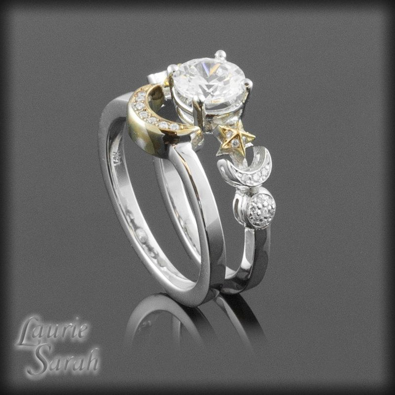 Cz Sun Crescent Moon Full And Stars Wedding Ring Set In Yellow White Gold