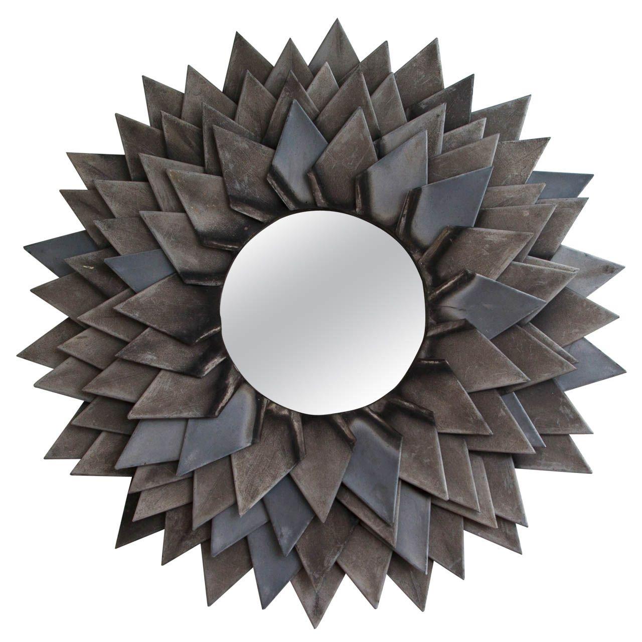 Monumental Zinc Flower Petal Mirror From A Unique