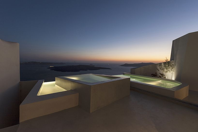 Greek architecture firm kapsimalis architects has designed two contemporary holiday house in the traditional village of firostefani santorini also  houses overlook  landmark rh ar pinterest