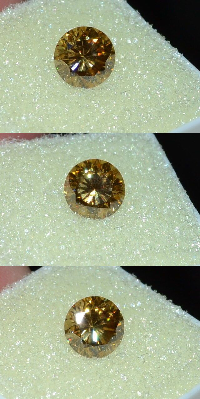 Synthetic Moissanite 110800: Gorgeous 1.35Ct 7.27Mm Vvs Brilliant Cut Champagne Moissanite Gemstone BUY IT NOW ONLY: $37.95