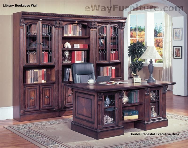 Details About Traditional Home Office Furniture Wood Double Pedestal Executive Desk Traditional Home Office Furniture Wood Office Furniture Traditional Home Office