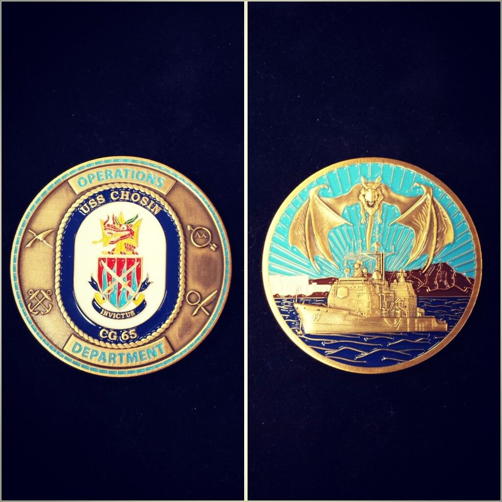 An Awesome 3d Mold Coin We Made For The Operations Department Of The Navy Cruiser Uss Chosin Department Of The Navy Vehicle Logos Challenge Coins