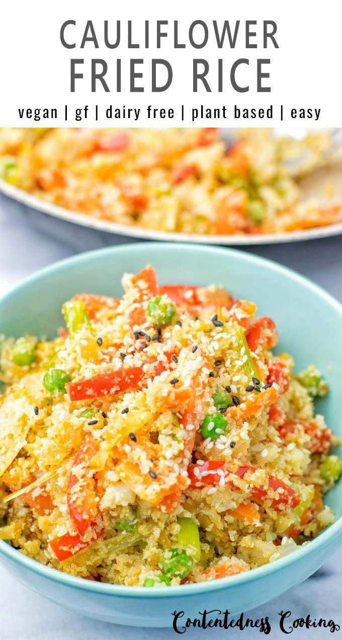 This Cauliflower Fried Rice is a super easy to make for your one pan meals and ready in 15 minutes. Naturally vegan, gluten free and low carb. An amazing dinner, lunch, meal prep, work lunch idea that the whole family will love. Healthy and so satisfying, yum!