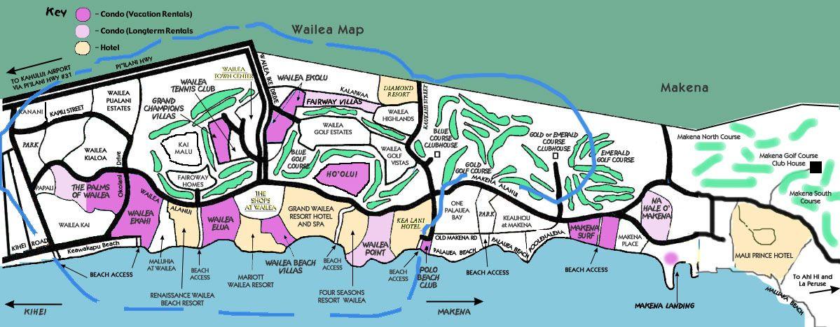 Wailea Beach Hotel Map Maui Ekahi Maps Resort Info Activities