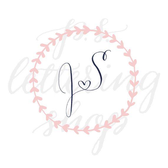 HochzeitLogo Kranz Custom Hand beschriftet Logo Wedding Branding