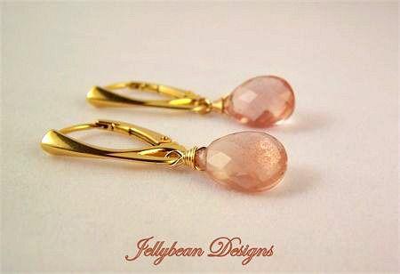 oregon sunstone gemstones vermeil gold earrings by JBD www.madeit.com.au/jellybeandesigns #sunstone #peach #gold #pink #earrings #jellybeandesigns